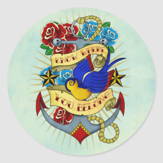 Anchor, Swallow and Roses Classic Round Sticker