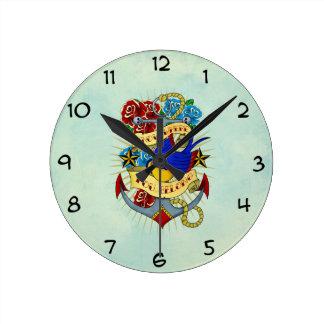 Anchor, Swallow and Roses Clocks
