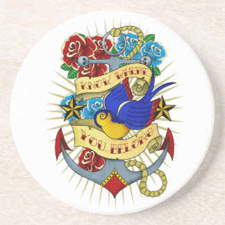 Anchor, Swallow and Roses Coaster