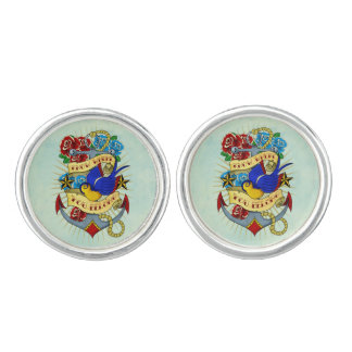 Anchor, Swallow and Roses Cufflinks