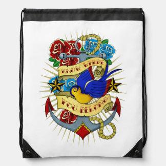 Anchor, Swallow and Roses Drawstring Backpack