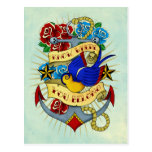 Anchor, Swallow and Roses Postcard
