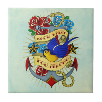 Anchor, Swallow and Roses Small Square Tile