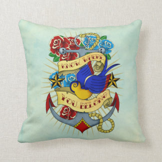 Anchor, Swallow and Roses Throw Cushion