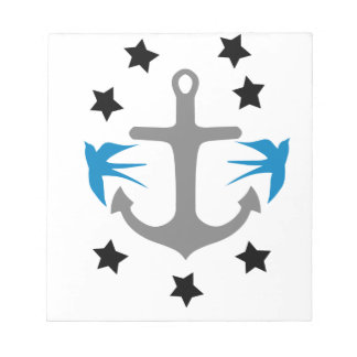 Anchor, Swallows and Stars Notepad