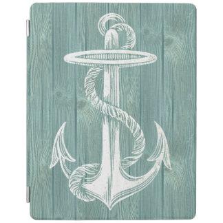 Anchor Vintage Aqua Wood iPad Cover