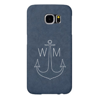 Anchor vintage nautical monogram samsung galaxy s6 cases