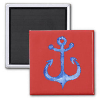 Anchor Watercolor Square Magnet