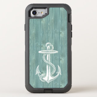 Anchor White Vintage Aqua Wood Phone OtterBox Defender iPhone 7 Case