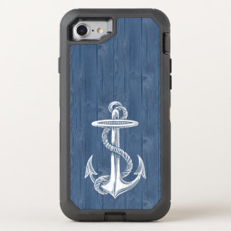 Anchor White Vintage Blue Wood Phone OtterBox Defender iPhone 7 Case