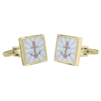 Anchor with Chain Gold Finish Cufflinks
