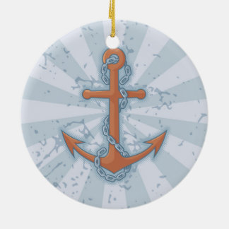 Anchor with Chain Round Ceramic Decoration