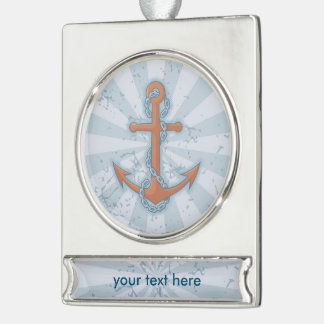Anchor with Chain Silver Plated Banner Ornament