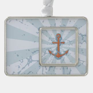 Anchor with Chain Silver Plated Framed Ornament