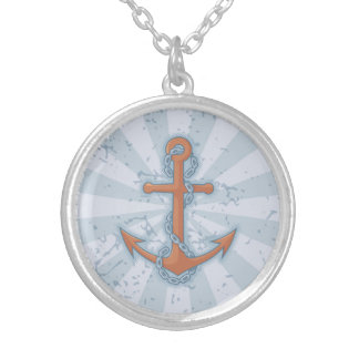 Anchor with Chain Silver Plated Necklace