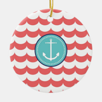 Anchor with Coral Waves Pattern Christmas Ornament