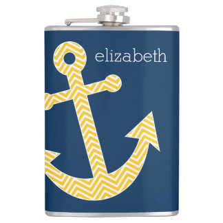 Anchor with Navy Yellow Chevrons Custom Name Flasks