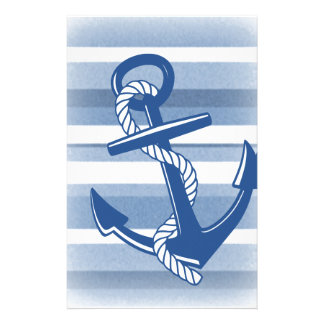 Anchor with rope in blue hues customized stationery