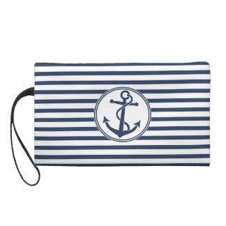 Anchor with Stripes Wristlet