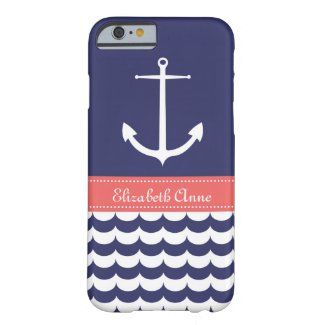 Anchor with Waves and Custom Name in Navy & Pink
