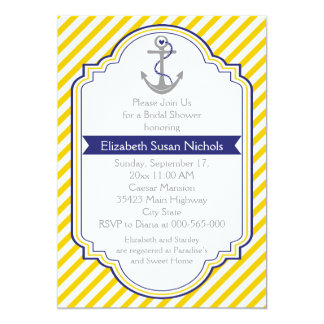 Anchor yellow white nautical wedding bridal shower 13 cm x 18 cm invitation card