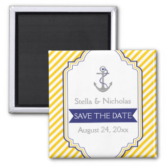 Anchor yellow white nautical wedding Save the Date Magnet