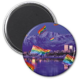 Anchorage, AK Flying Pride 6 Cm Round Magnet