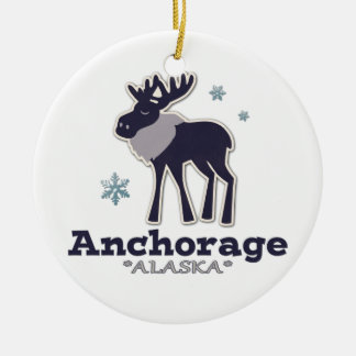 Anchorage Alaska blue moose winter Christmas Ornament