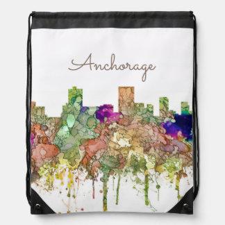Anchorage, Alaska Skyline SG-Faded Glory Drawstring Bag