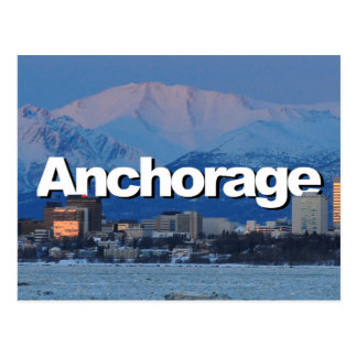 Anchorage Alaska Skyline with Anchorage in the Sky Postcard
