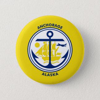 Anchorage city Alaska flag united states america s 6 Cm Round Badge
