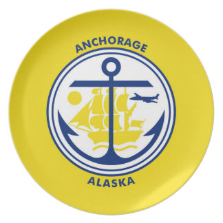 Anchorage city Alaska flag united states america s Party Plates