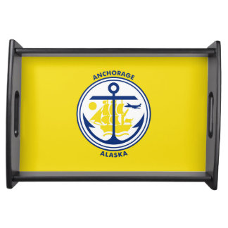 Anchorage city Alaska flag united states america s Serving Tray