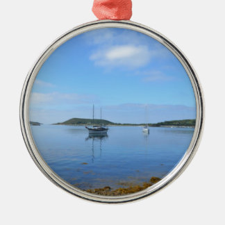 Anchorage In The Scillies Silver-Colored Round Decoration