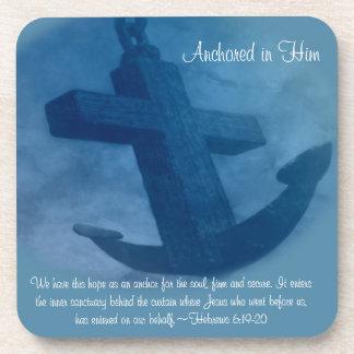 Anchored in Him Scripture Coaster