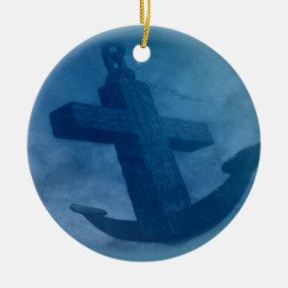 Anchored in Him Scripture Round Ceramic Decoration