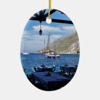 Anchored Outside The Taverna Ceramic Oval Decoration