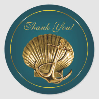 Anchored Seashell Nautical Thank You | turquoise Round Sticker
