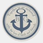 Anchored with Love Round Sticker