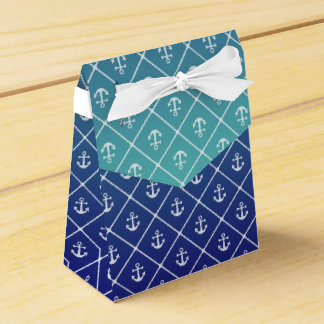 Anchors and hearts pattern on custom background wedding favour box