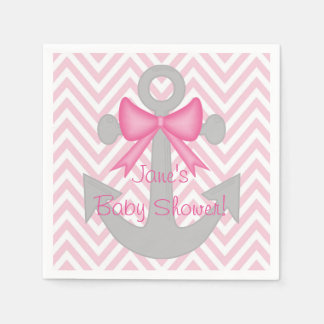 Anchors Away Girl Baby Shower Napkins Disposable Serviettes
