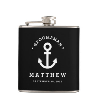 Anchors Away Groomsman Flask