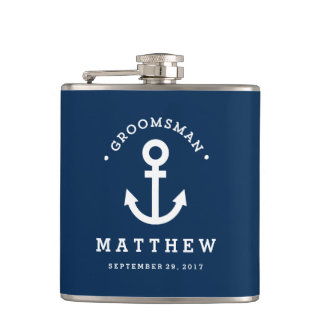 Anchors Away Groomsman Hip Flask