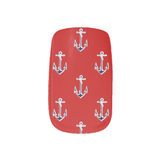 Anchors away minx nail art