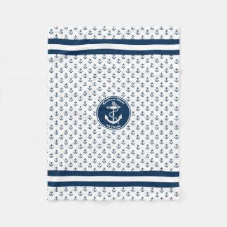Anchors Away Nautical Personalize Fleece Blanket