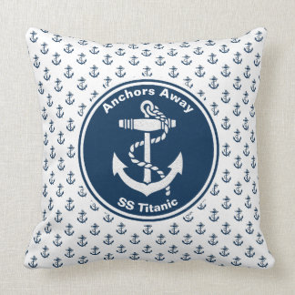 Anchors Away Nautical Personalize Throw Pillow