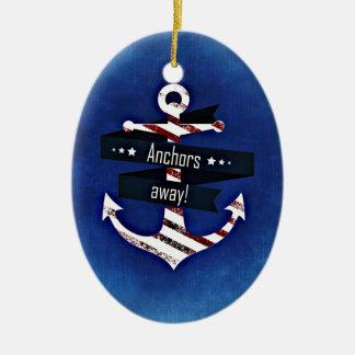 Anchors Away Nautical Print Christmas Ornament