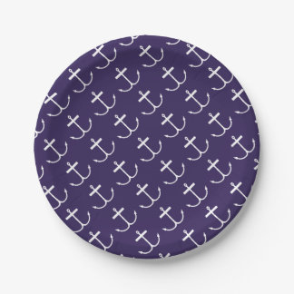 Anchors Away Paper Plates (Lite Print) 7 Inch Paper Plate