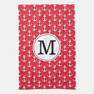 Anchors Away! Red Custom Monogrammed Golf Bag Tea Towel
