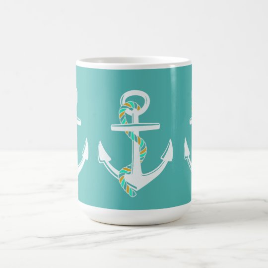Anchor's Away_Rope_Aqua-White-Giftware Coffee Mug
